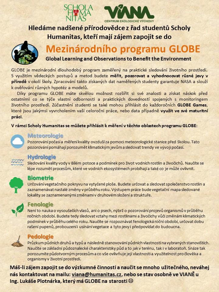 Rozšiřujeme GLOBE tým Scholy Humanitas