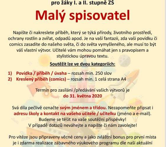 Malý spisovatel 2020 – literární soutěž – PRODLOUŽENO DO 31.5.2020